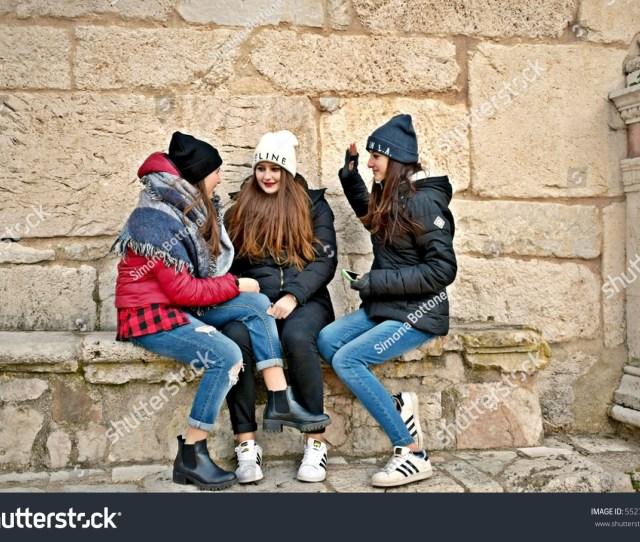 Italy Umbria Perugia Spoleto January   Italian Three Teenage Girls Dressed