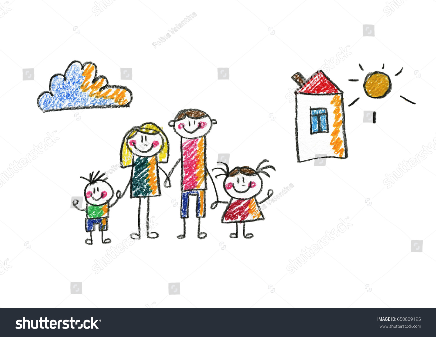 Kids Drawing Happy Family Mother Father Stock Illustration