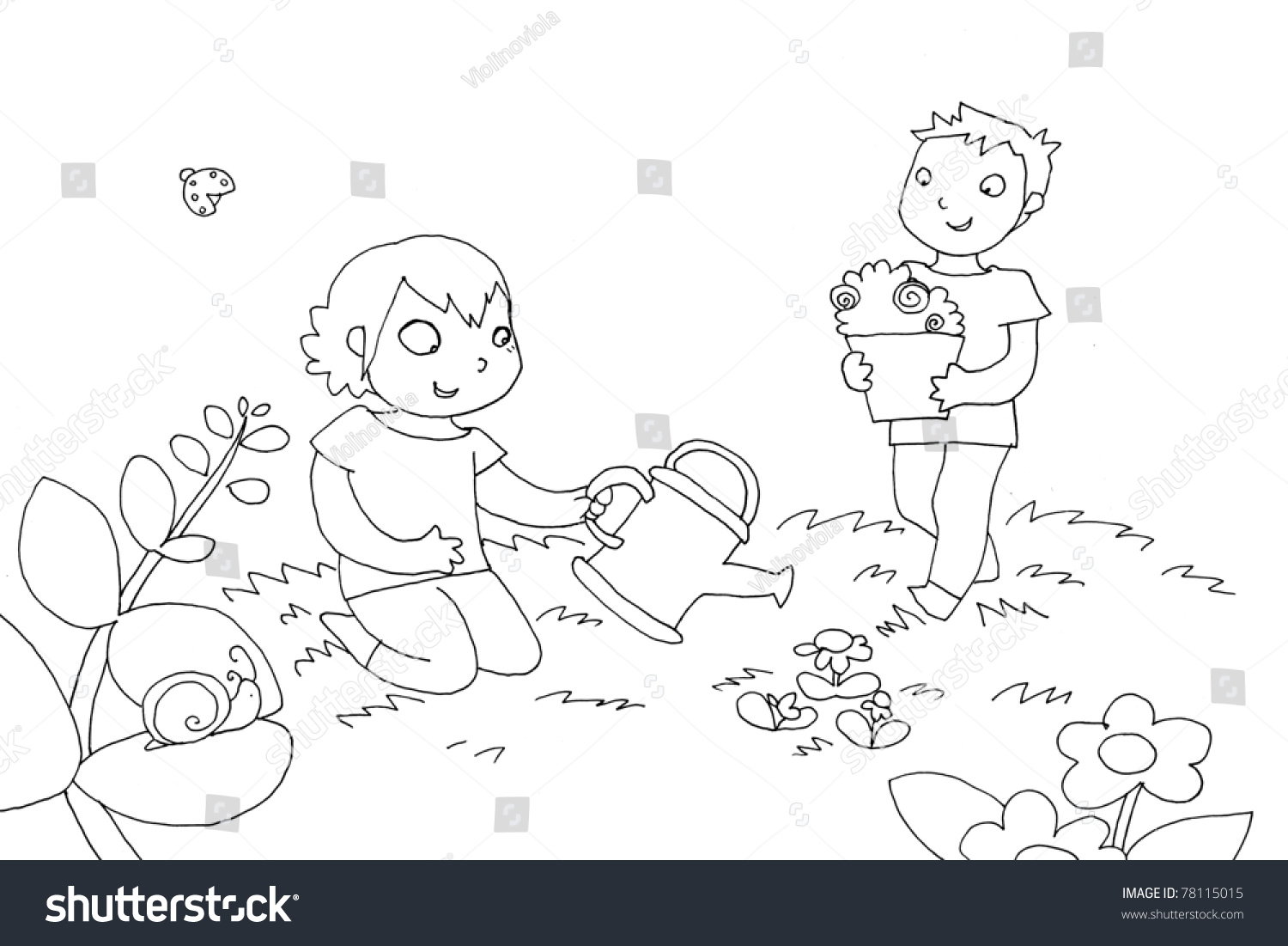 Kids Watering Plant Black And White Illustration