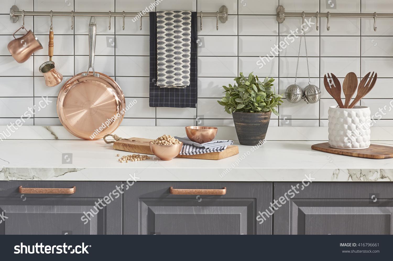 Kitchen Brass Utensils Chef Accessories Hanging Stock