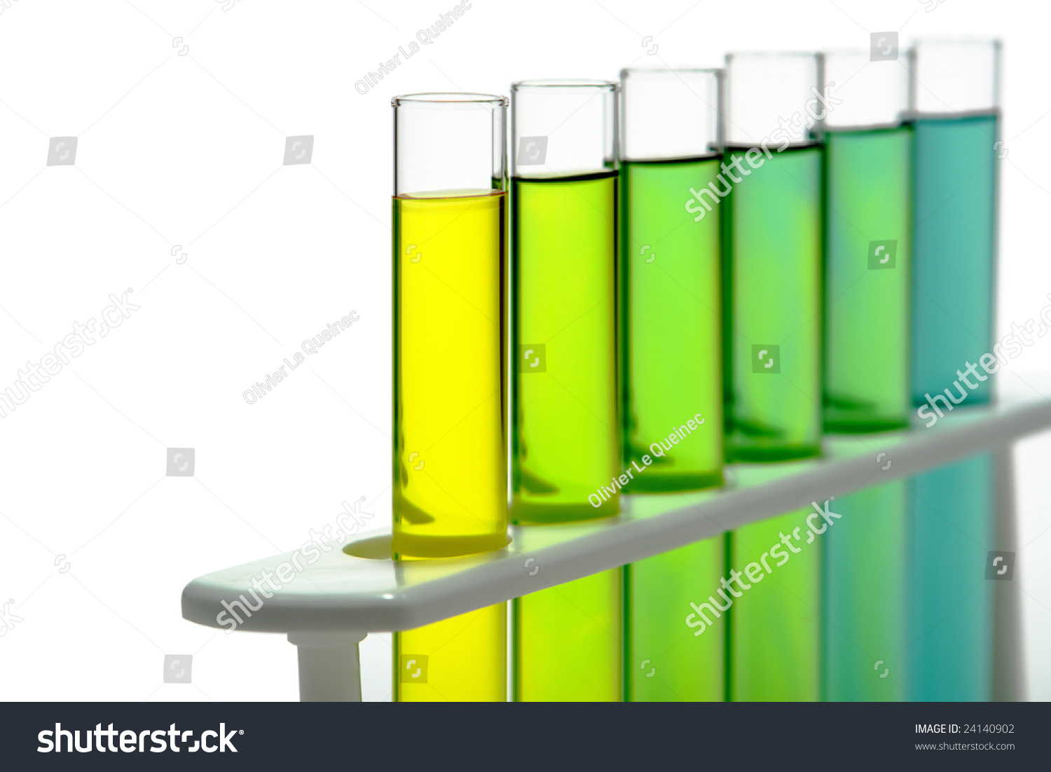 Laboratory Glass Test Tubes Filled With Liquid On A Rack For An Experiment In A Science Research