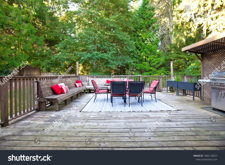 https www shutterstock com image photo large patio deck outdoor furniture 1386139637