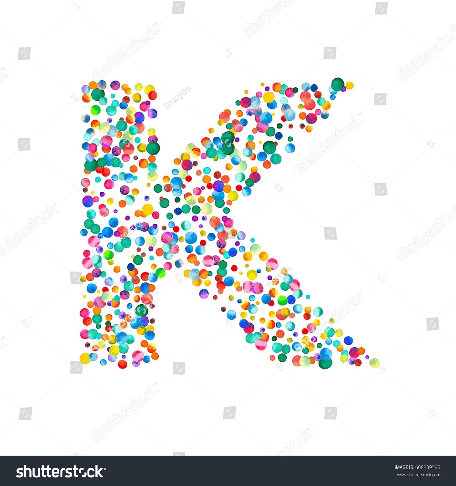 Letter K Filled Dense Watercolor Confetti Stock