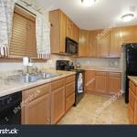 Light Wood Kitchen Black Appliances Stock Photo Edit Now 69717988