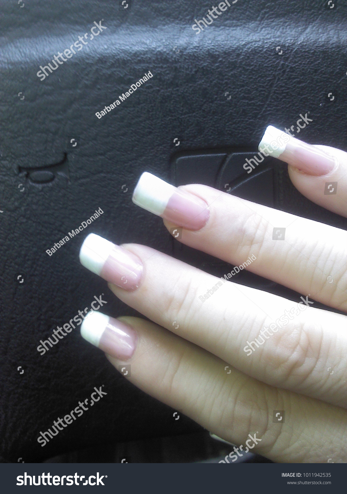 Long French Manicure Natural Nails Stock Photo Edit Now 1011942535