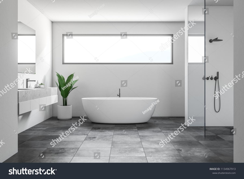 Luksus Badevaerelse Interior Med Hvide Vaegge Lagerillustration 1134967913