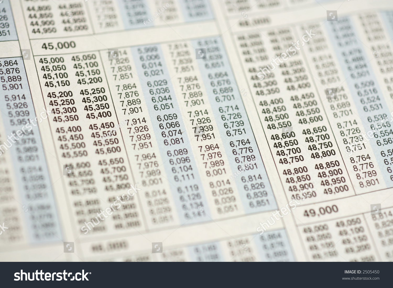 Macro Selective Focus View Of Income Tax Table Stock