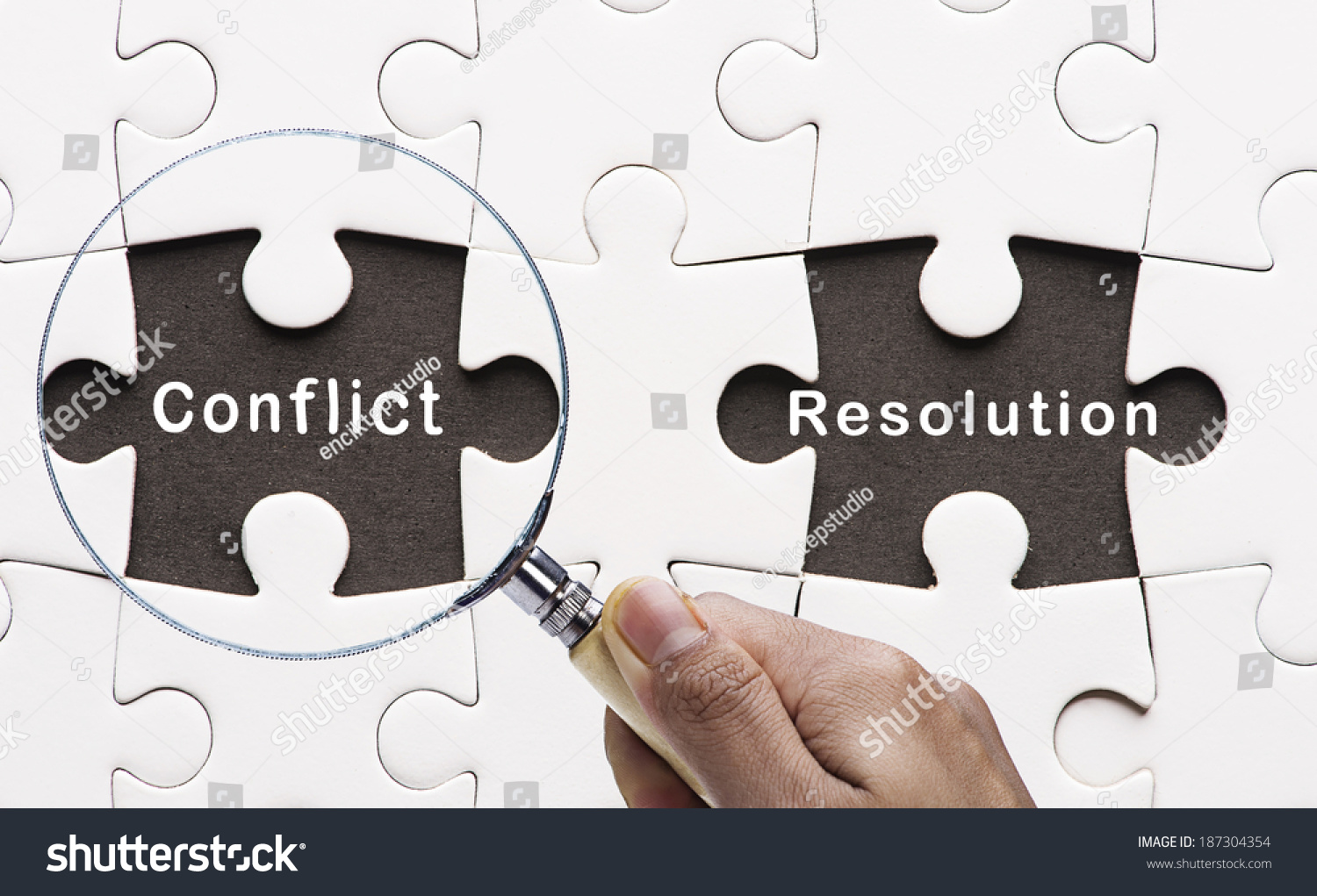 Magnifying Glass Searching Missing Puzzle Peace Conflict