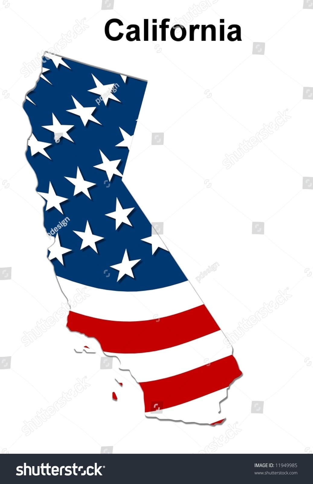 Map State California American Flag Ilustracion En Stock