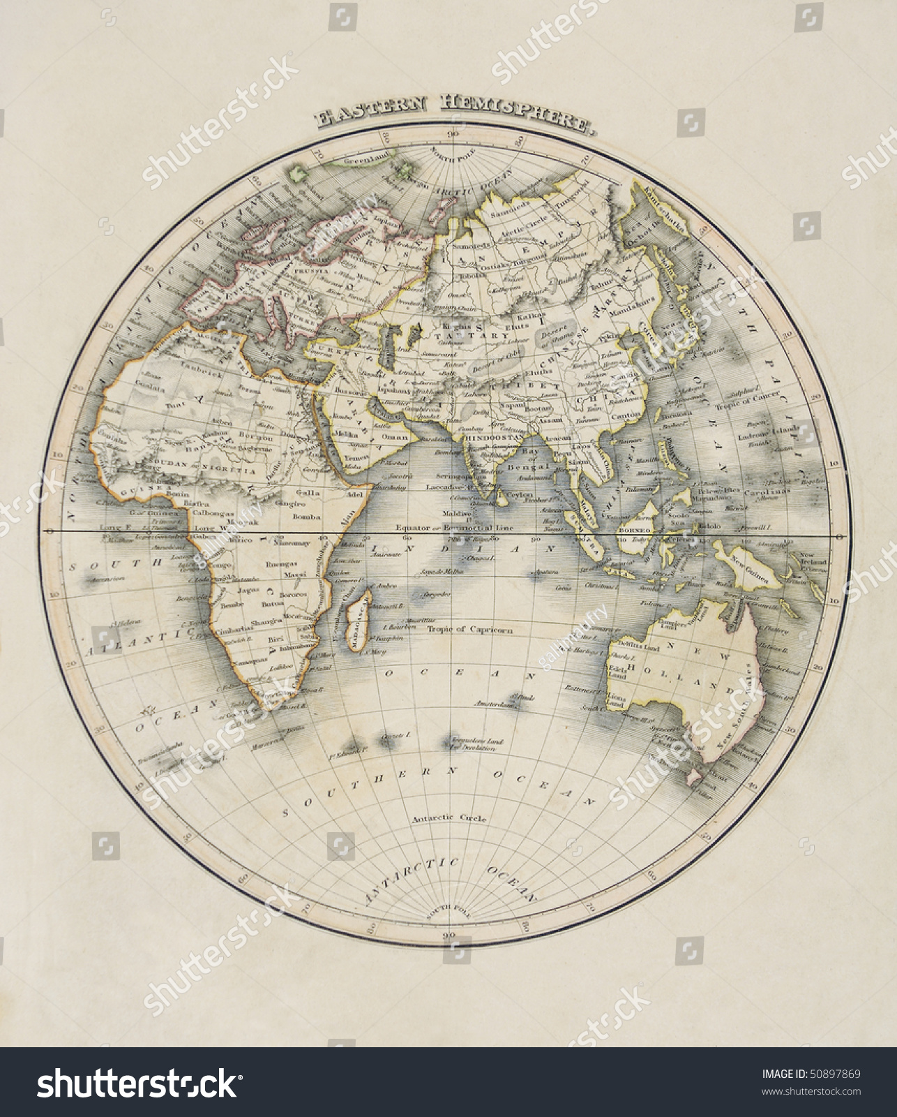 Map Of The World Eastern Hemisphere Showing Africa Asia