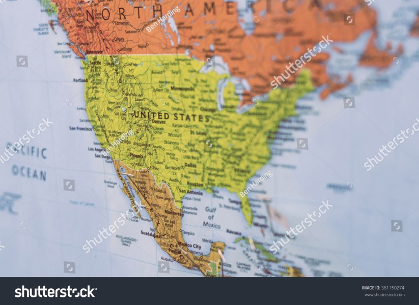 Map United States North America Selective Stock Photo  Royalty Free     map of united states and north america  with selective focus