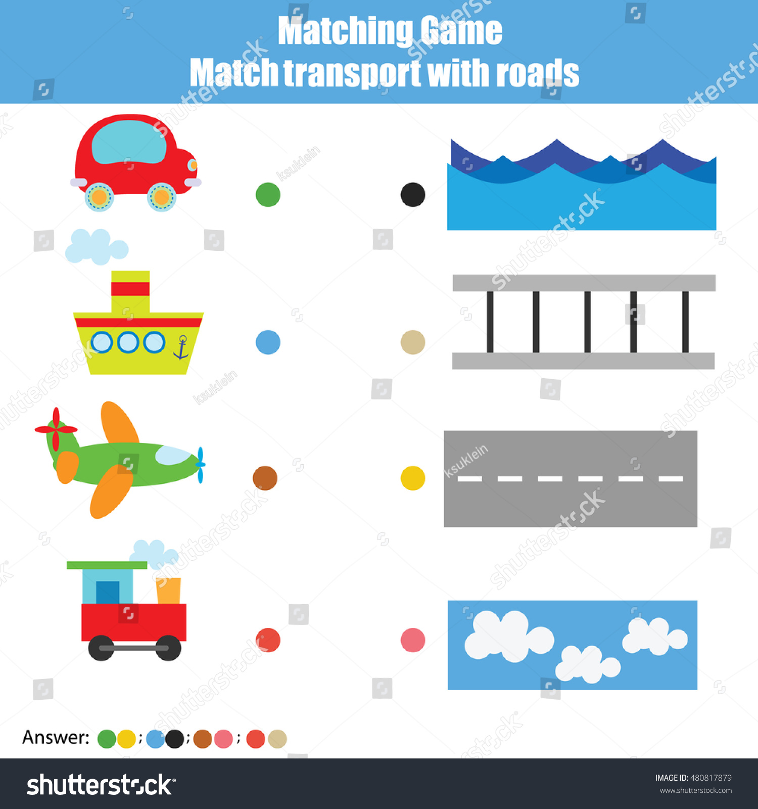 Match Transport Roads Children Educational Game Stock