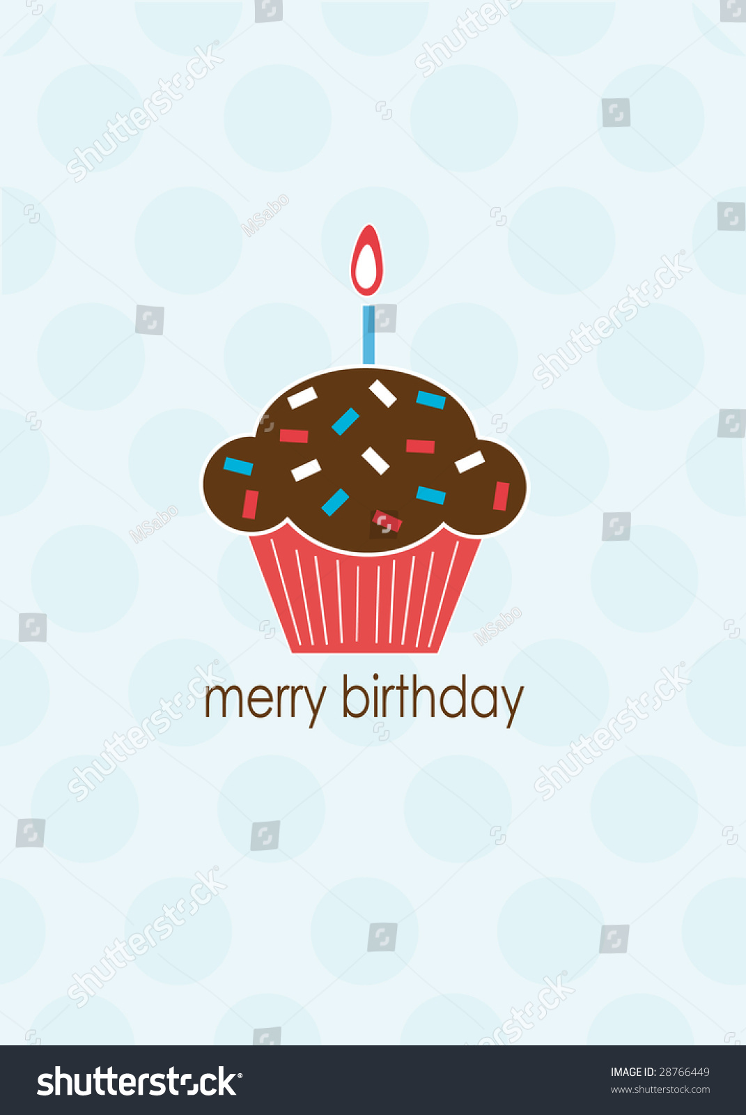 Merry Birthday Card With Cupcake Stock Photo 28766449