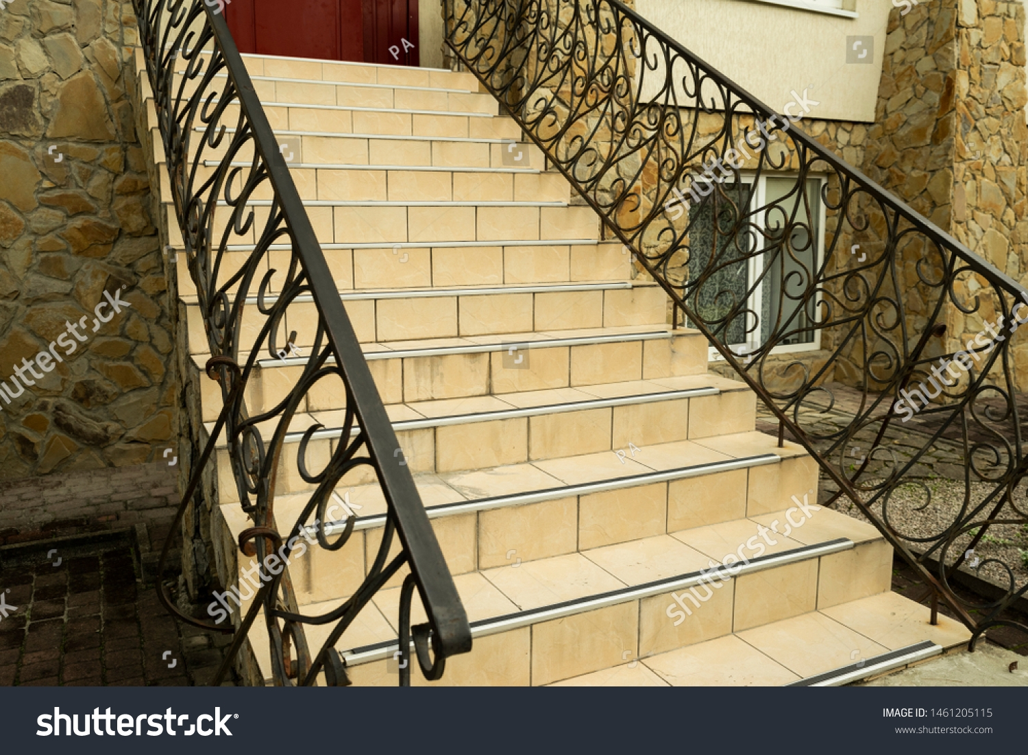 Metal Railings On Steps Entrance Group Stock Photo Edit Now   Metal Steps For Outside   Loading Dock   Covered   Round   Easy   Outdoors