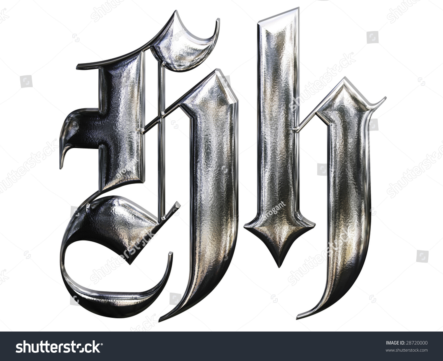 N Alphabet German Gothic Font