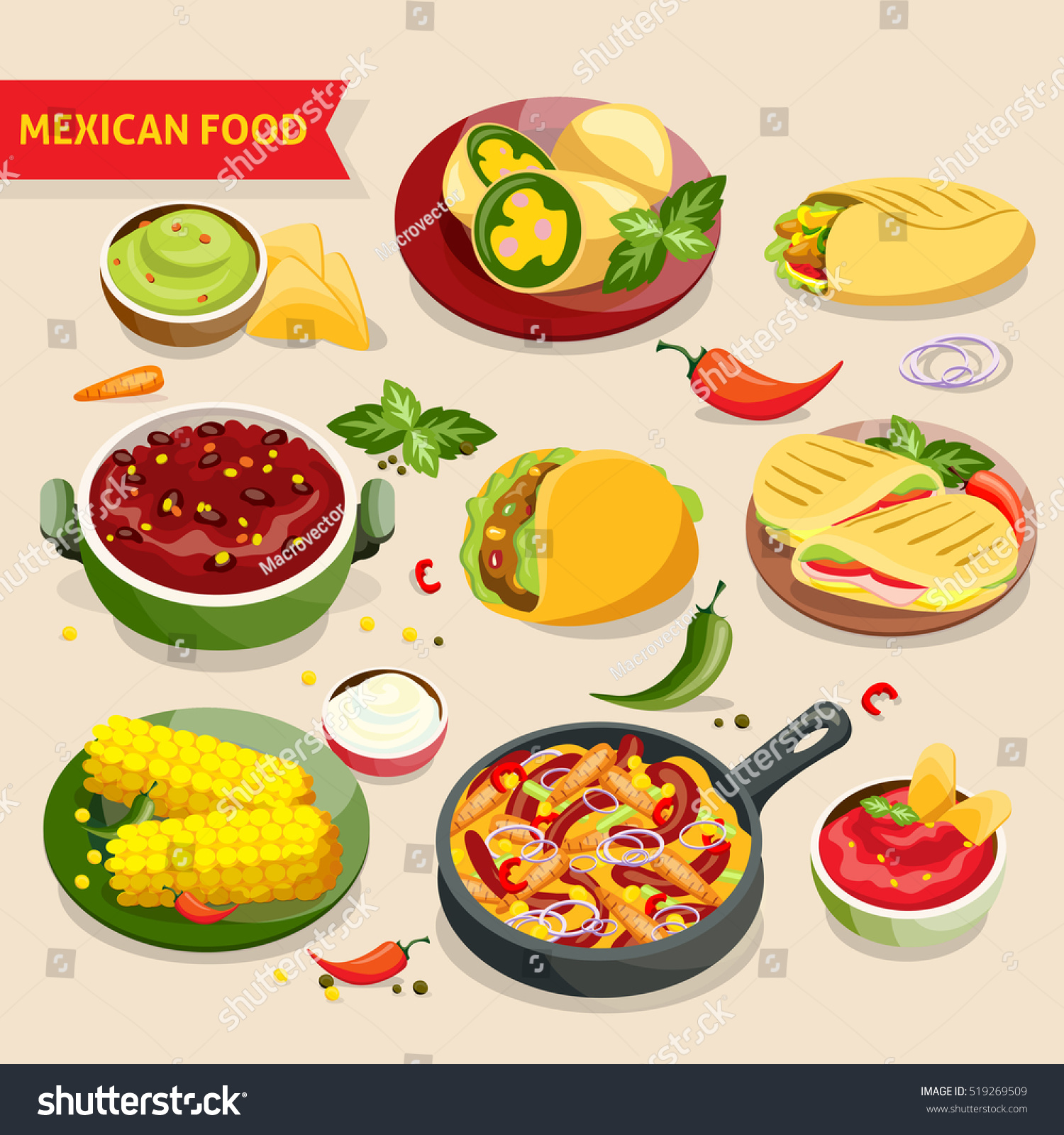 Mexican Food Set Traditional Mexico Cuisine Stock