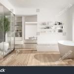 Minimalistisk Hvid Skandinavisk Badevaerelse Med Walk In Lagerillustration 618455018