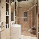 Modern Bathroom Interior With Beige And Brown Marble Tiles 3d Rendering