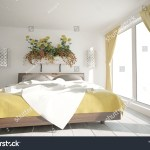 Modern Bedroom Yellow Curtains Interior Design Stock Illustration 1456609967