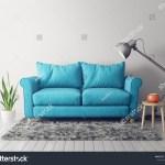 Modern Living Room Blue Sofa Lamp Stock Illustration 1029145786