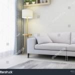 Modern Minimalist Bright Tones Living Room Stock