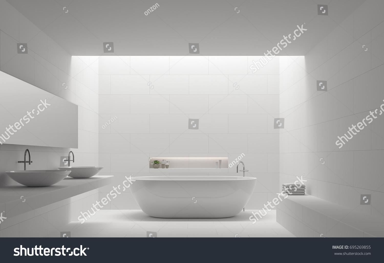 https www shutterstock com image illustration modern white bathroom interior minimal style 695269855