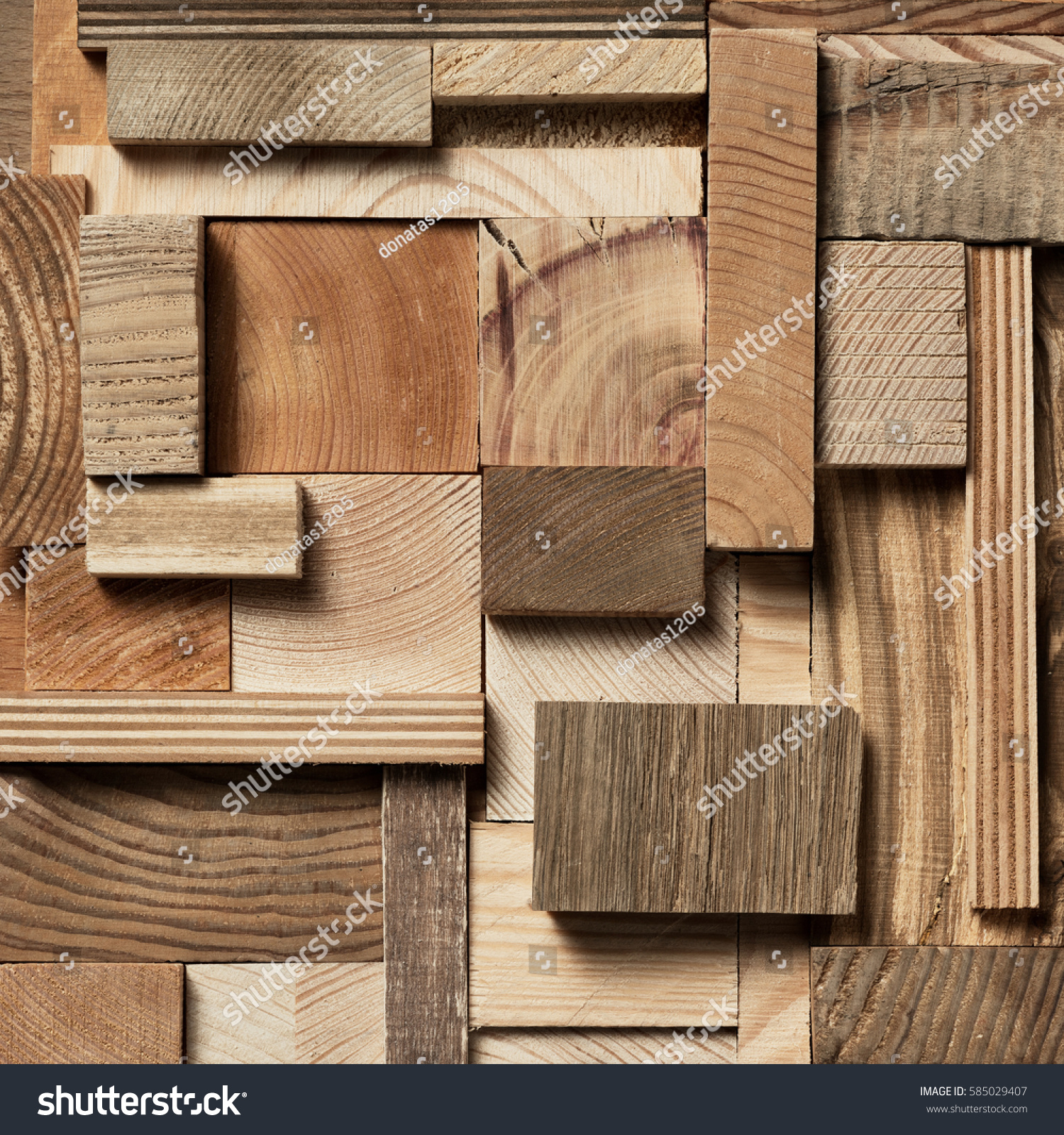 Natural Wooden Blocks Collage Background Used Stock Photo 585029407 Shutterstock