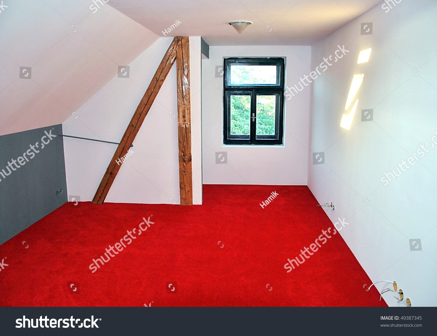New Bedroom With Red Carpet Stock Photo 49387345 Shutterstock