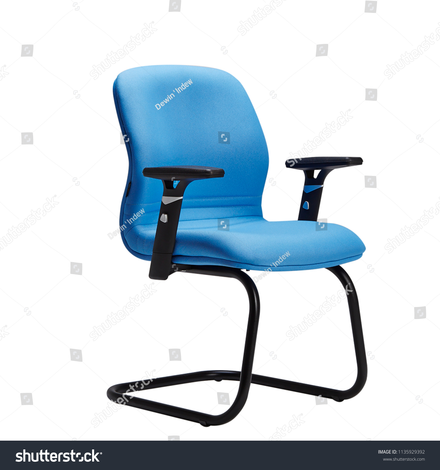 Office Chair Desk Chair Blue Leather Stock Photo Edit Now 1135929392
