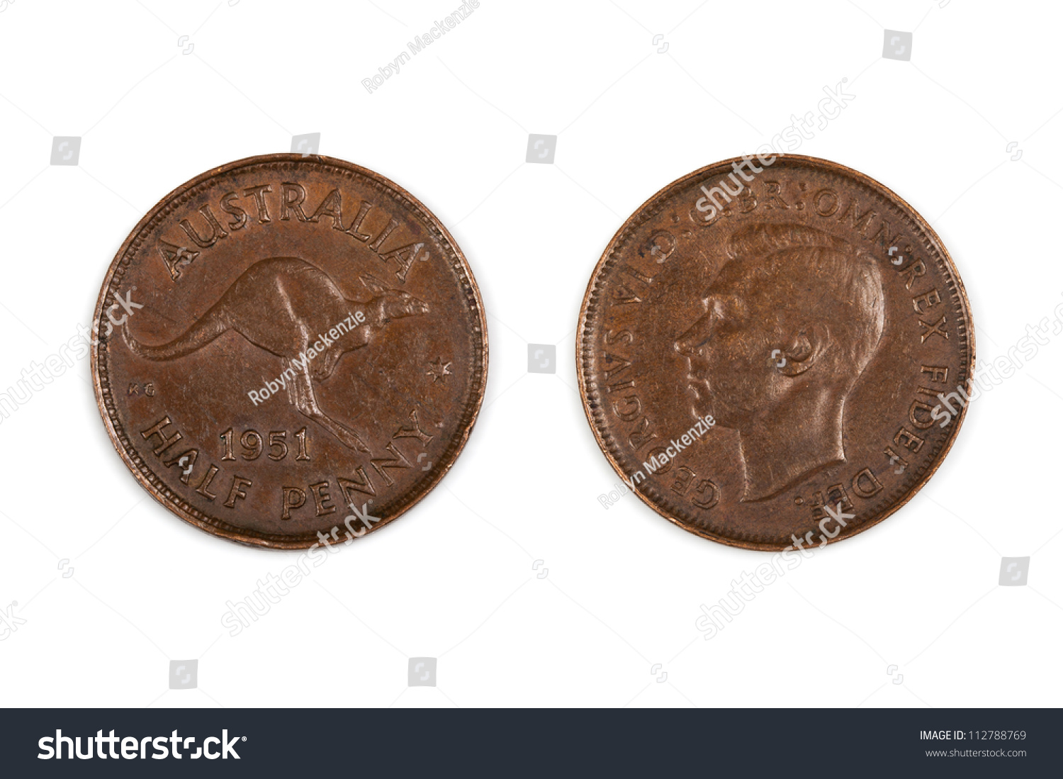 Old Australian Half Penny Coin Stock Photo