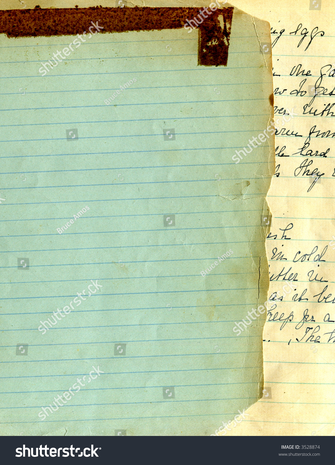 Old Recipe Handwriting Lined Paper Stock Photo