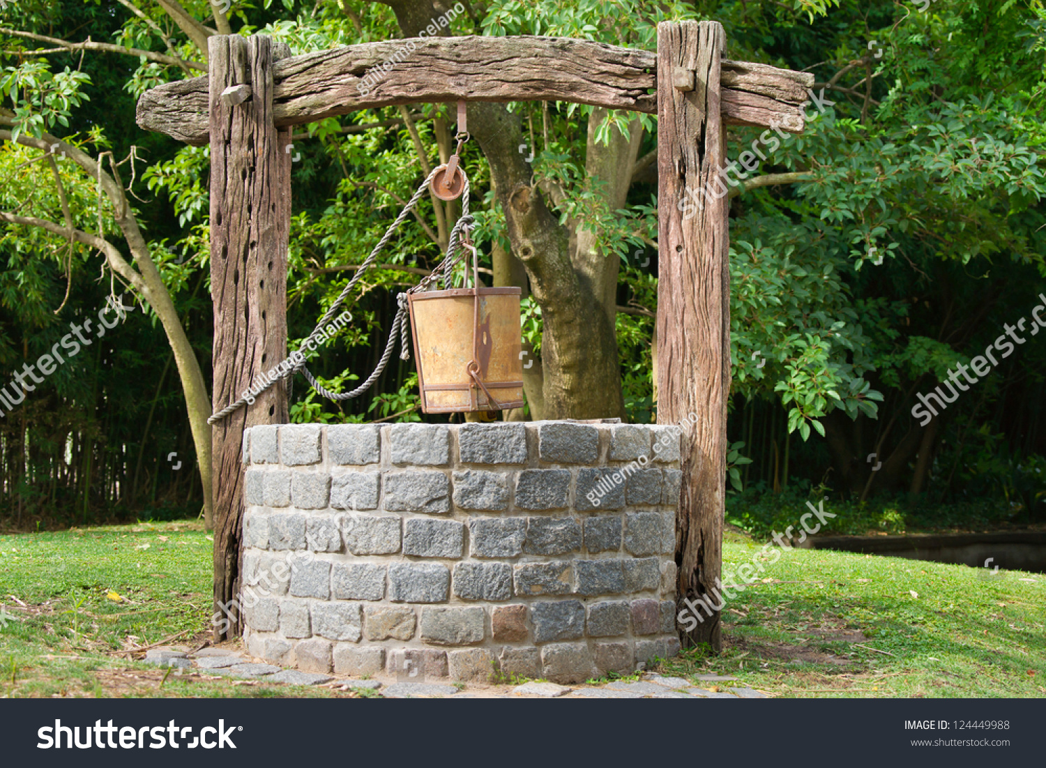 Old Water Well Pulley Bucket Stock Photo 124449988 Shutterstock