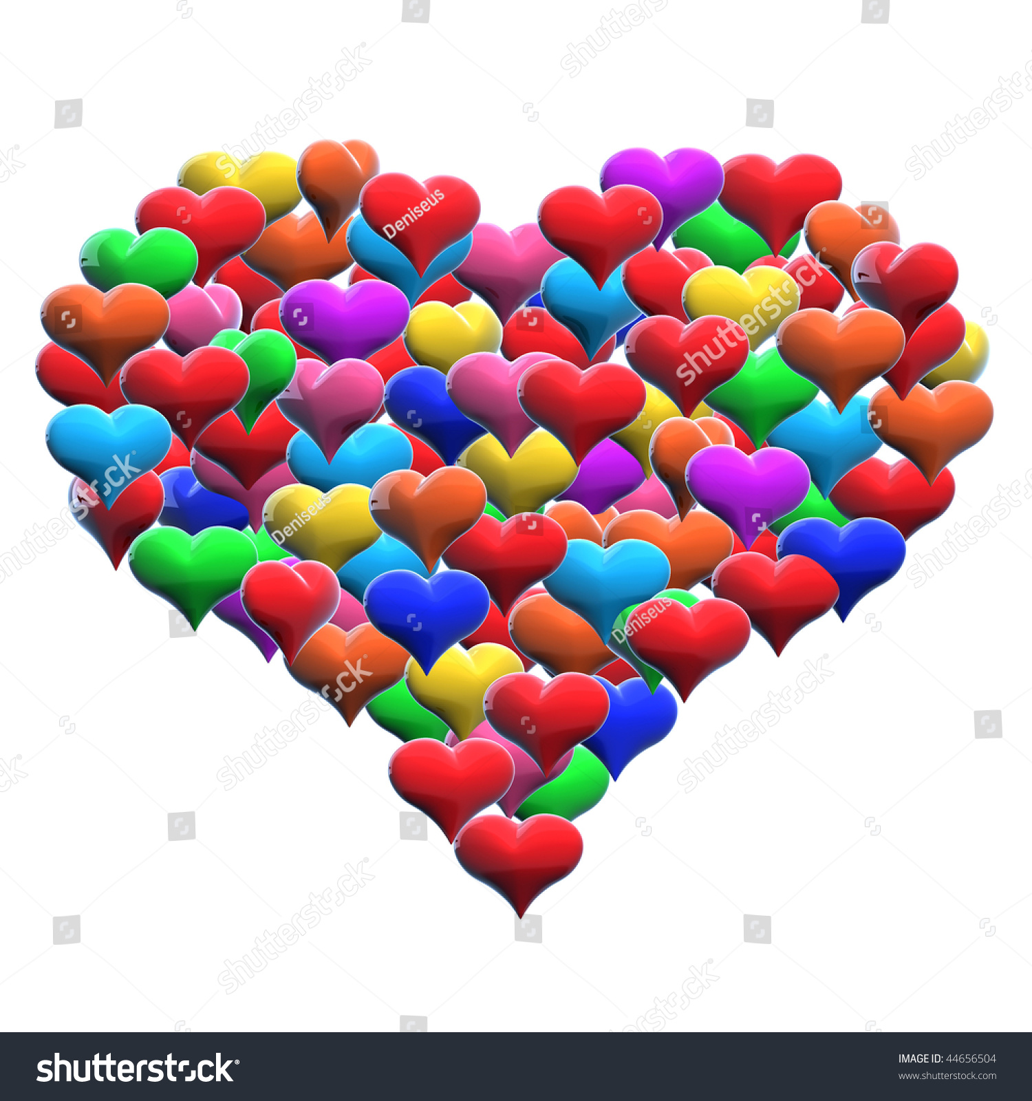 One Big Heart Composed Small Colored Stock Illustration