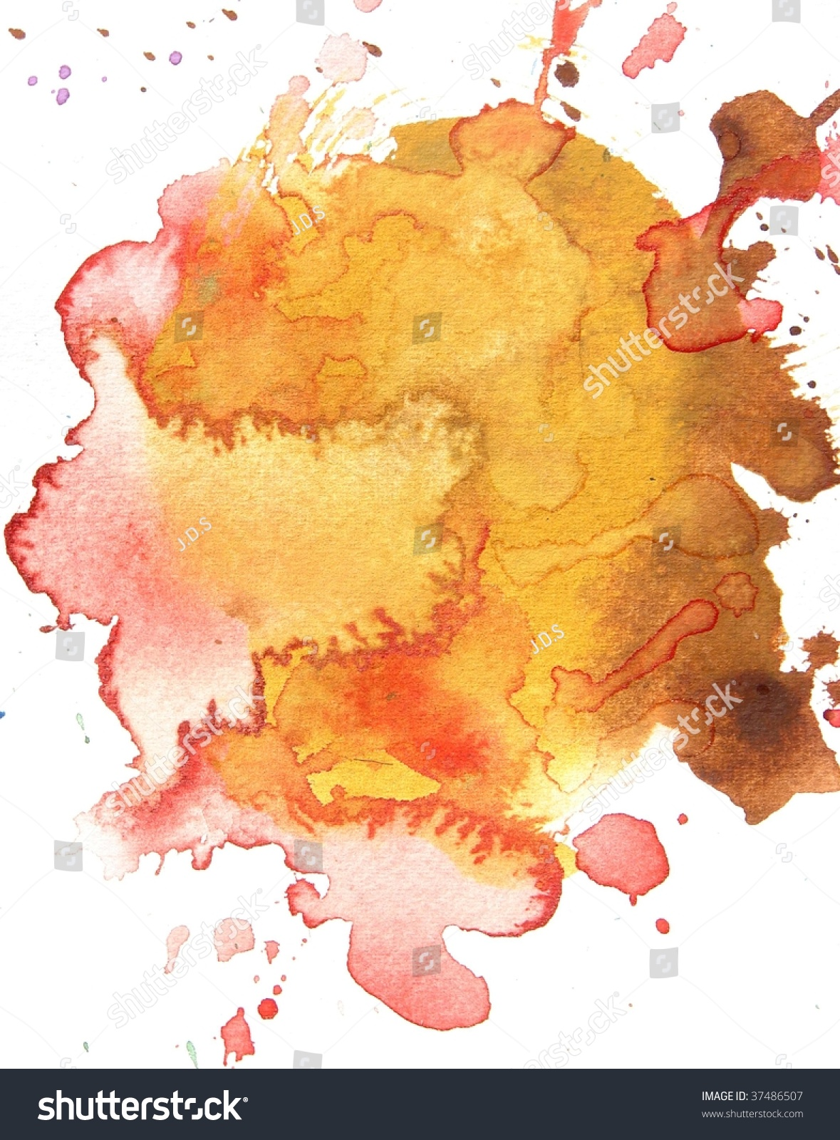 Orange Red Abstract Splash Watercolor Background Stock