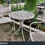 Outdoor Furniture White Steel Chairs Table Stock Photo Edit Now 657940168