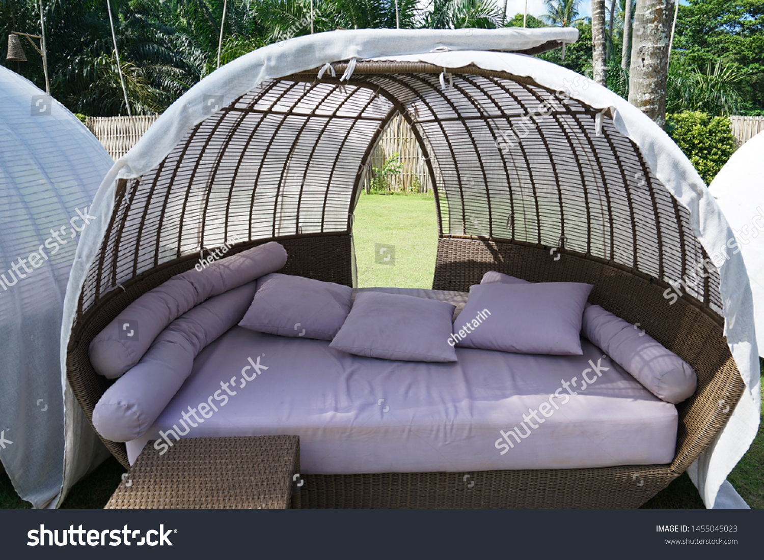 https www shutterstock com image photo outdoor patio daybeds cushion pillows green 1455045023