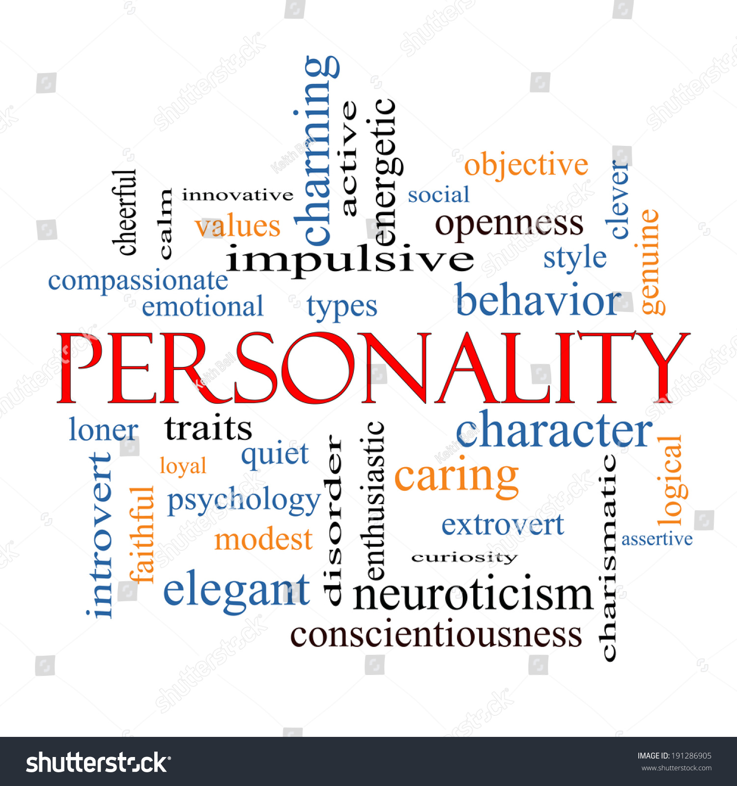 Personality Word Cloud Concept Great Terms Stock
