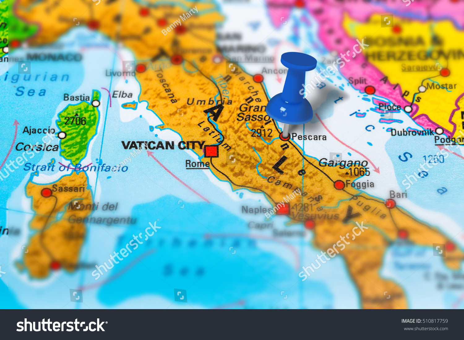 Pescara Italy Pinned On Colorful Political Stock Photo  Royalty Free     Pescara in Italy pinned on colorful political map of Europe  Geopolitical  school atlas  Tilt