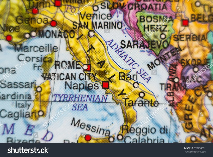 Photo Map Italy Capital Rome Stock Photo  Royalty Free  370274081     Photo of a map of Italy and the capital Rome