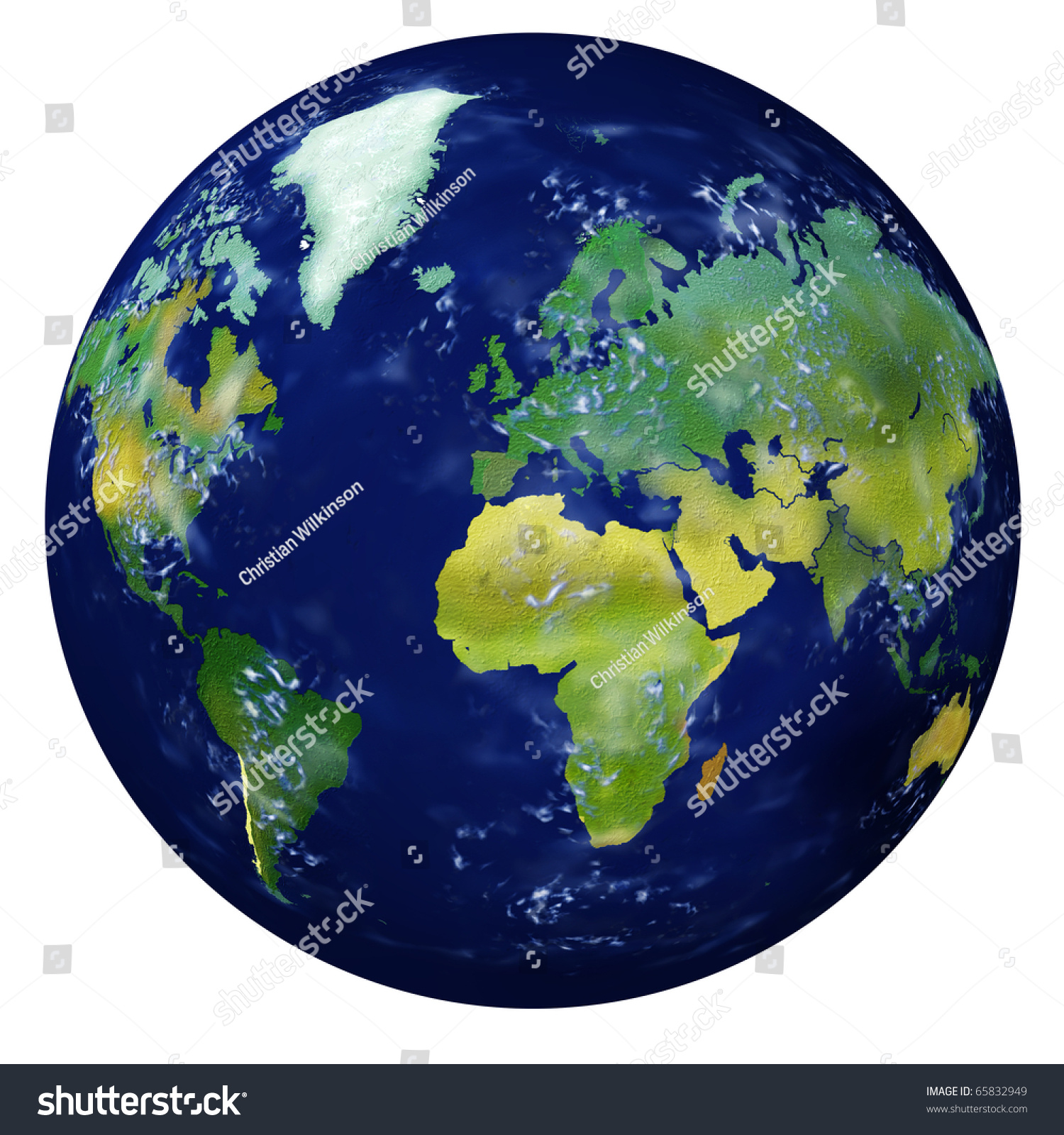 Planet Earth Highly Detailed Realistic Illustration Stock