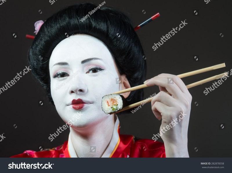 Portrait Woman Geisha Makeup Eating Sushi Stock Photo Edit Now 249a01f3ea350