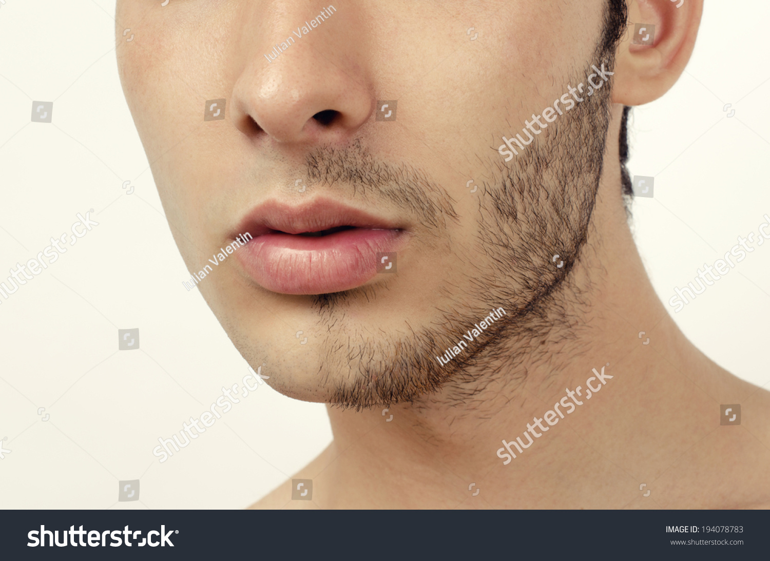 Portrait Of A Young Beautiful Man With Half Face Shaved Stock Photo Shutterstock