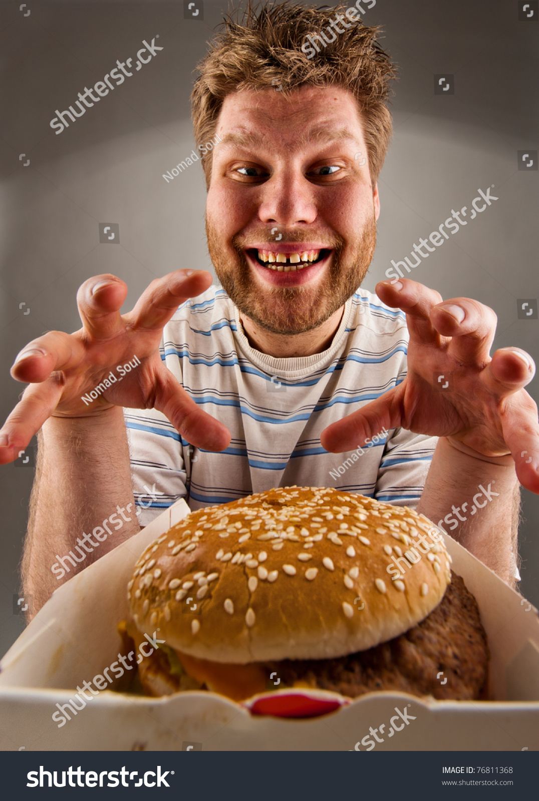 Happy Fat Eating Guy Burger