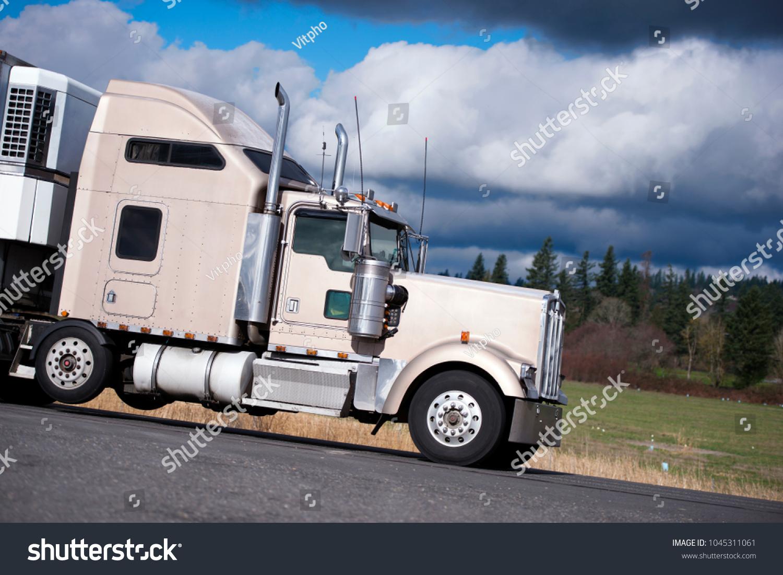 https www shutterstock com image photo powerful beige big rig classic semi 1045311061