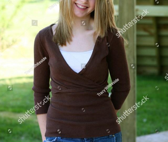 Pretty Blonde Teen Girl Smiling
