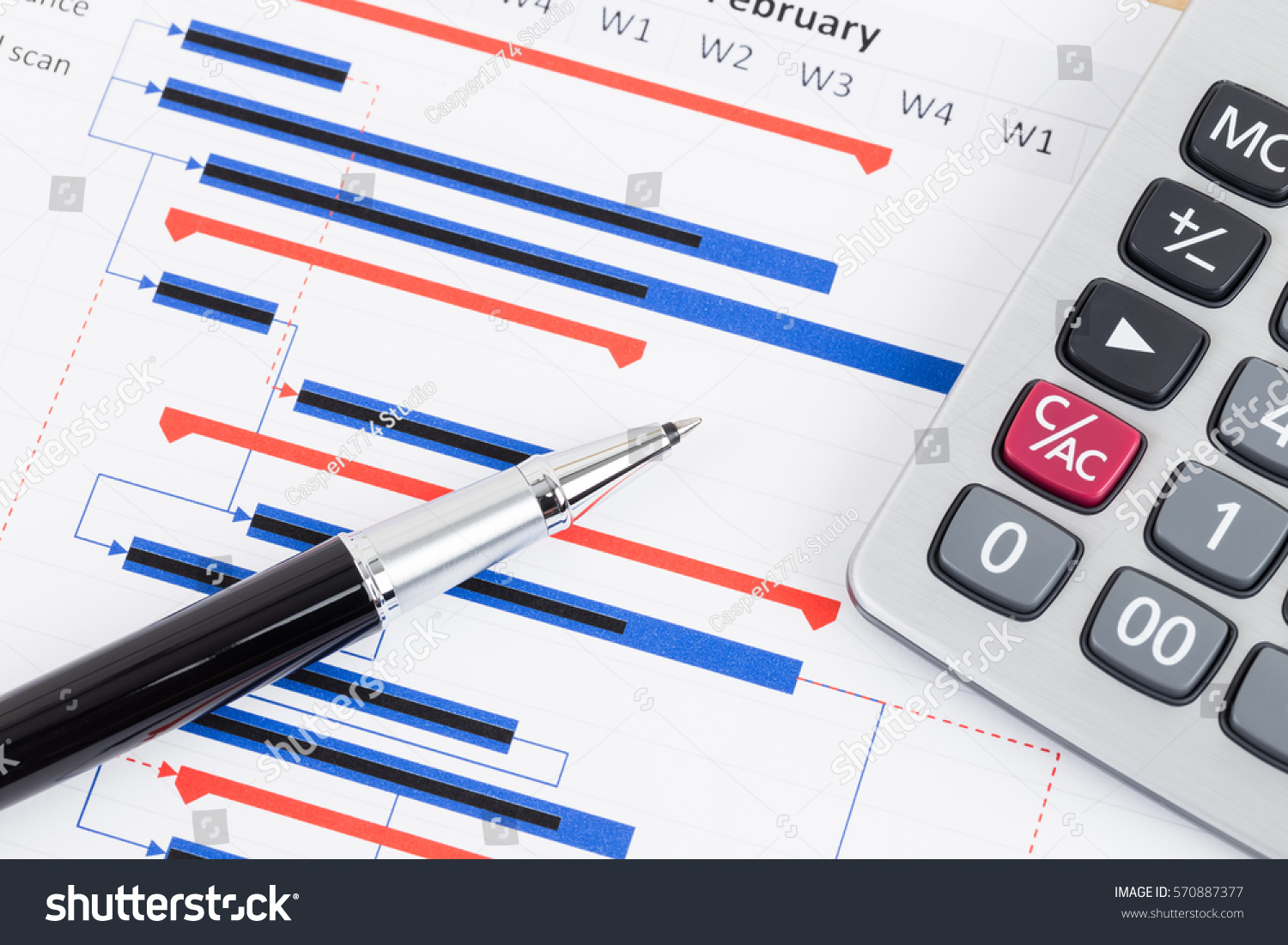 Project Management Gantt Chart Pen Calculator Stock Photo  Edit Now     Project management and gantt chart with pen and calculator