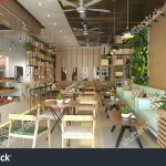 Restaurant Shop Interior Design Modern 3d Stock Illustration 673482835