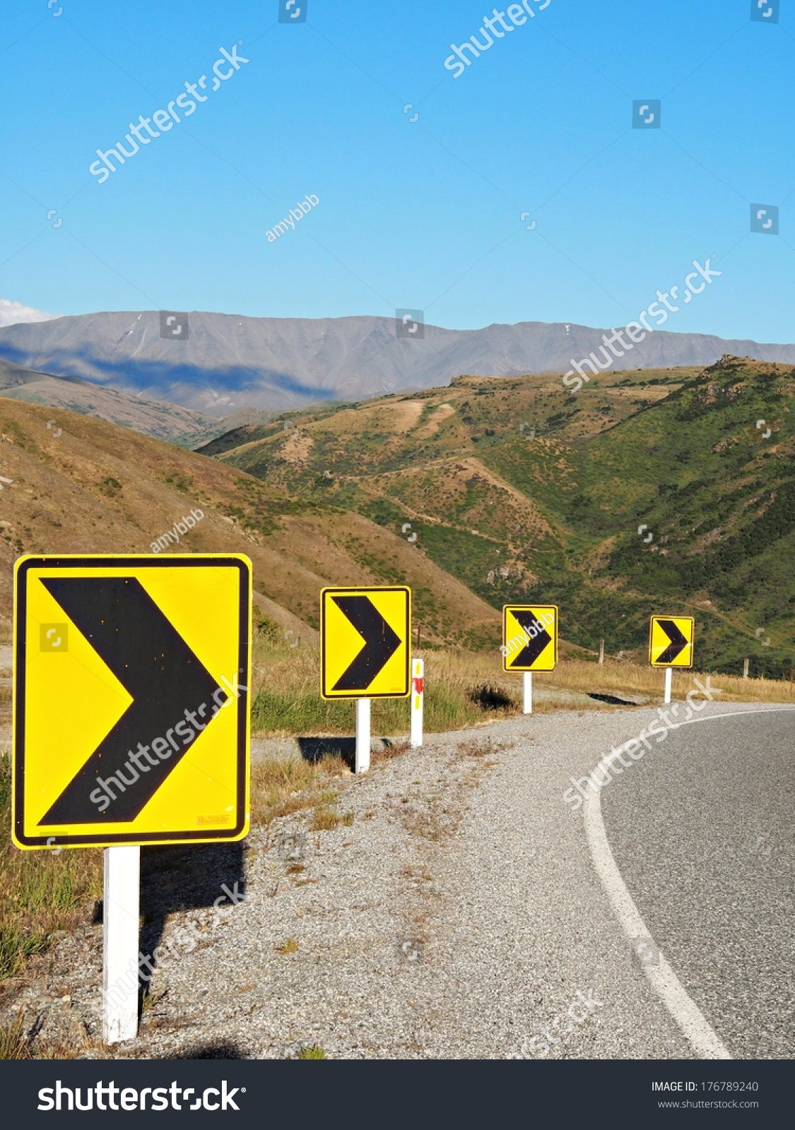 Right Turn Sign Road Signs Warn Stock Photo