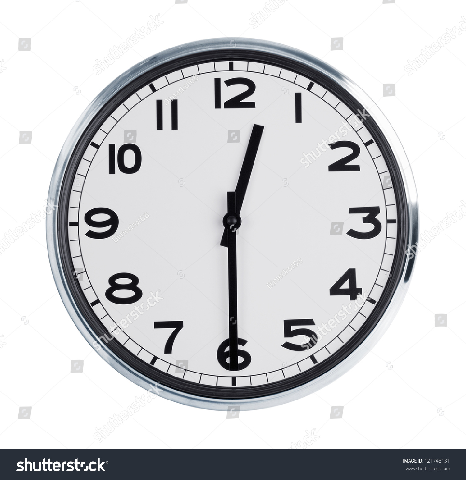 Round Wall Clock Shows Half Past Stock Photo