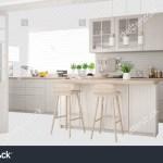 Scandinavian White Kitchen Island Accessories Interior Stock
